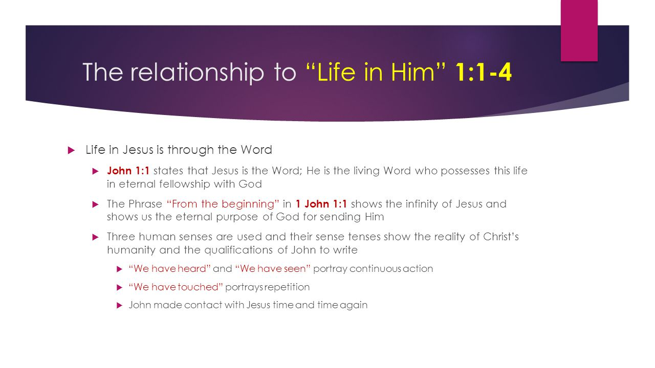 "The relationship to ""Life in Him"" 1:1-4  Life in Jesus is through the Word  John 1:1 states that Jesus is the Word; He is the living Word who posses"
