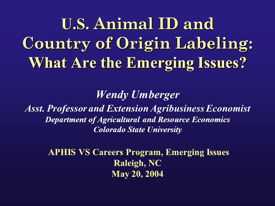 Presentation Overview Why do we need a National Animal ID System (NAIS).