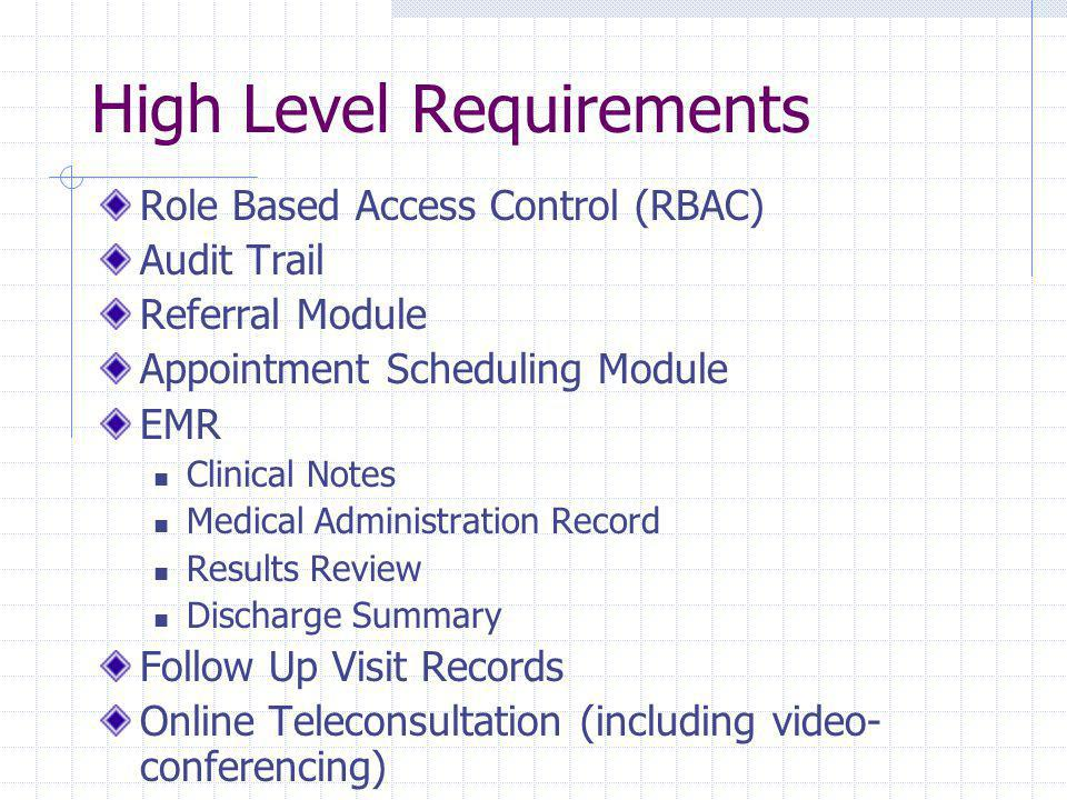 High Level Requirements Role Based Access Control (RBAC) Audit Trail Referral Module Appointment Scheduling Module EMR Clinical Notes Medical Administration Record Results Review Discharge Summary Follow Up Visit Records Online Teleconsultation (including video- conferencing)