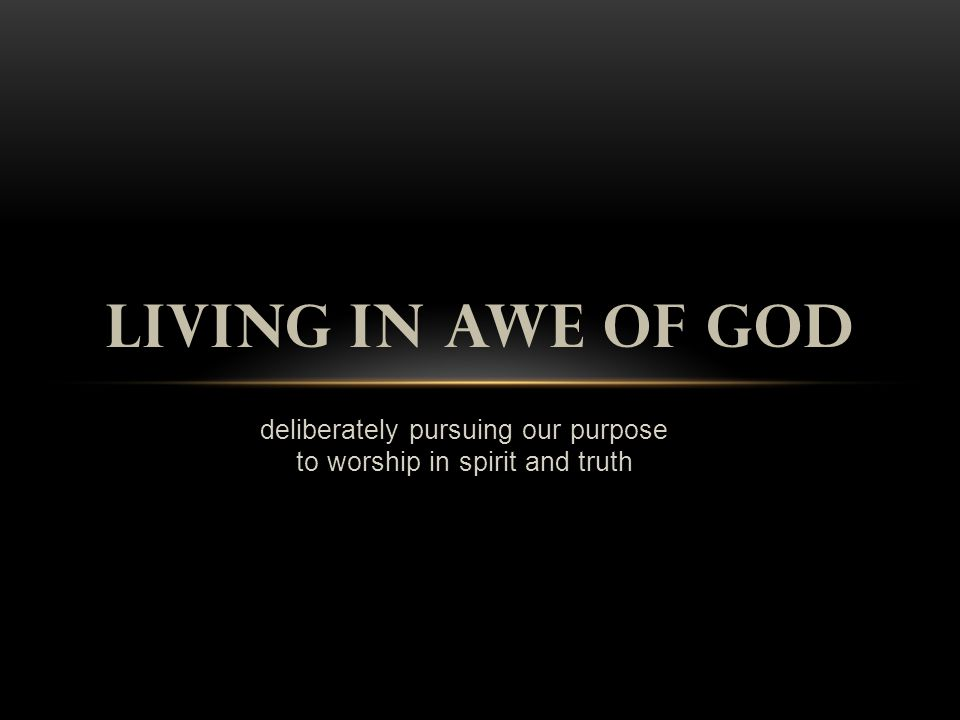 deliberately pursuing our purpose to worship in spirit and truth LIVING IN AWE OF GOD