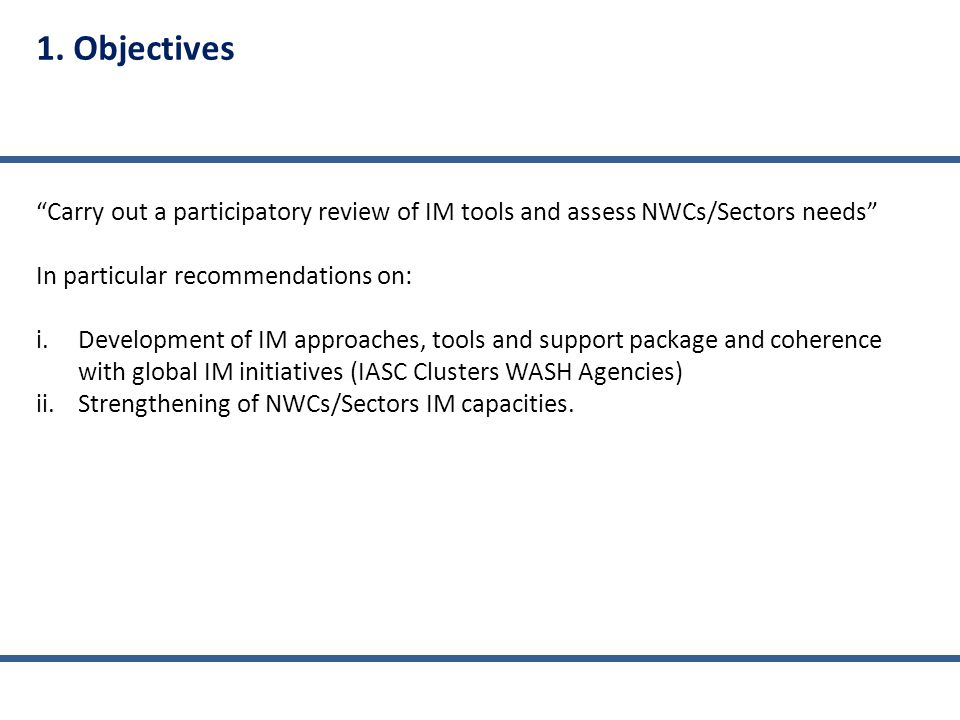 Support Package List of indicators Examples of tools Essential vs. Comprehensive IM Tools features