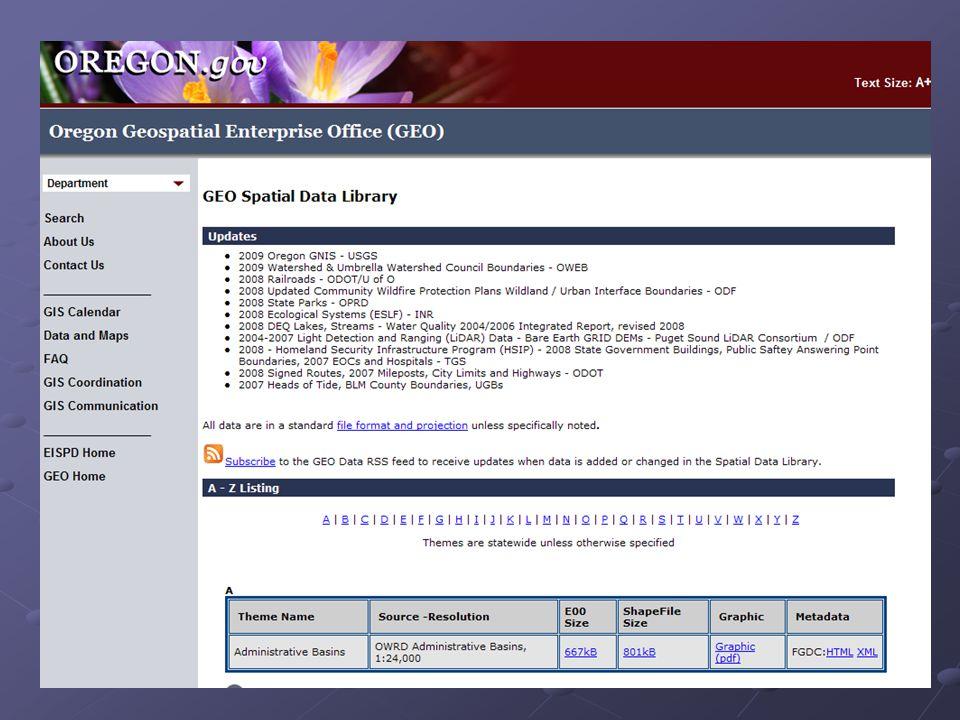 Oregon Explorer Non–Spatial Data Spatial Data NavigatOR Framework Data Non-Framework Spatial Data Portal Hardware Software Services Applications Governance Relationship Between Oregon Explorer and NavigatOR via Spatial Data Portal