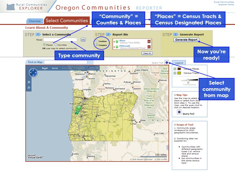 """Places"" = Census Tracts & Census Designated Places ""Community"" = Counties & Places Select community from map Type community Now you're ready!"