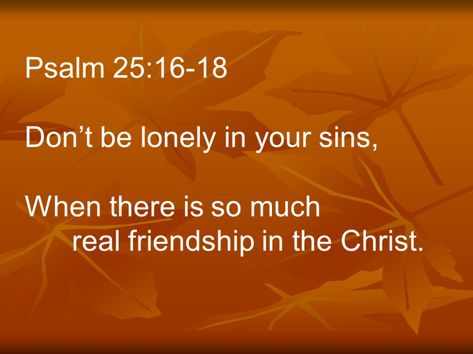 Psalm 25:16-18 Don't be lonely in your sins, When there is so much real friendship in the Christ.