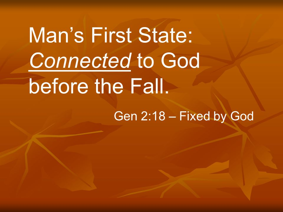 Man's First State: Connected to God before the Fall. Gen 2:18 – Fixed by God