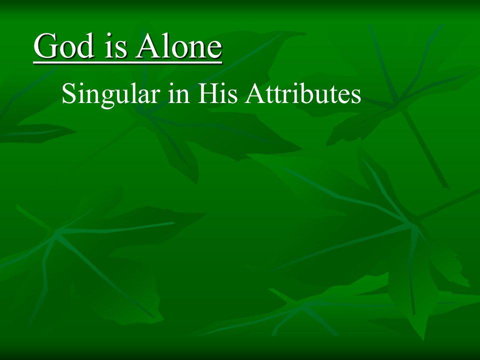 Singular in His Attributes