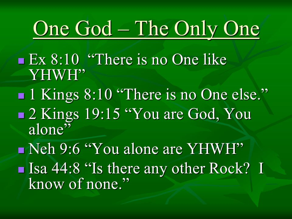One God – The Only One Ex 8:10 There is no One like YHWH Ex 8:10 There is no One like YHWH 1 Kings 8:10 There is no One else. 1 Kings 8:10 There is no One else. 2 Kings 19:15 You are God, You alone 2 Kings 19:15 You are God, You alone Neh 9:6 You alone are YHWH Neh 9:6 You alone are YHWH Isa 44:8 Is there any other Rock.