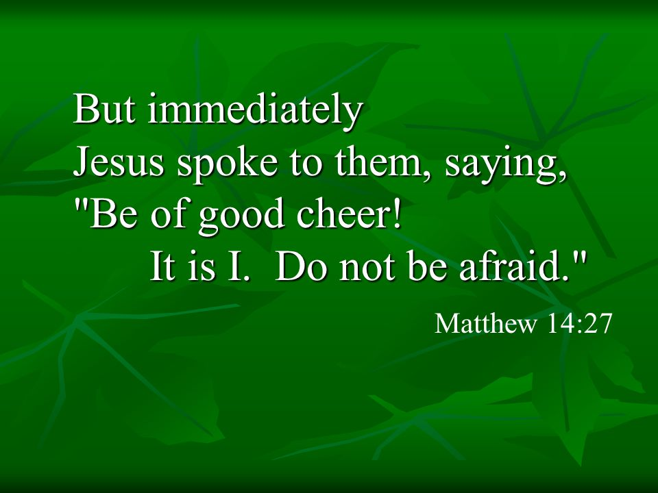 But immediately Jesus spoke to them, saying, Be of good cheer.