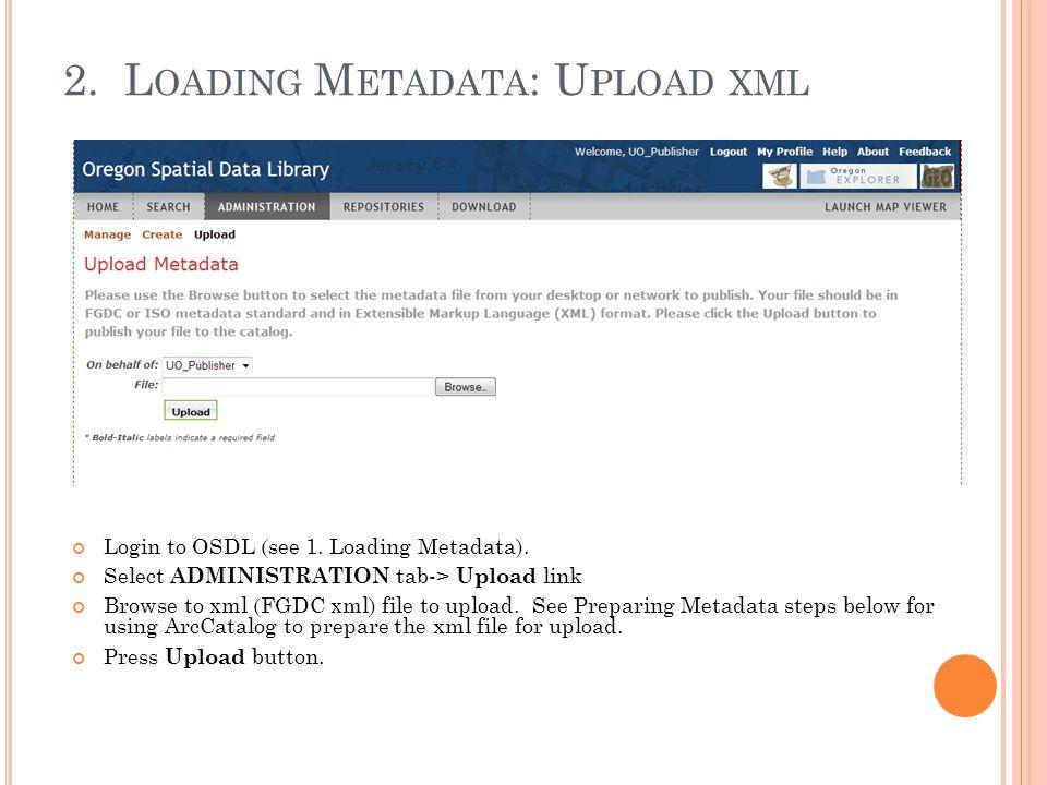 2. L OADING M ETADATA : U PLOAD XML Login to OSDL (see 1.
