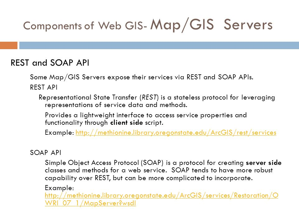 Components of Web GIS- Map/GIS Servers Some Map/GIS Servers expose their services via REST and SOAP APIs.