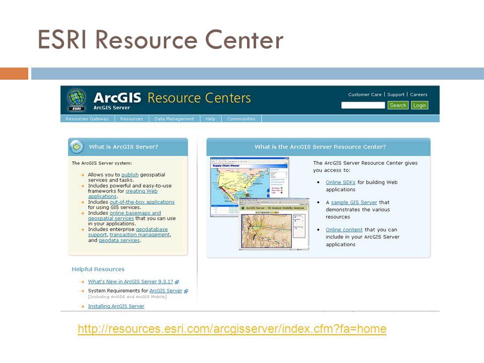 ESRI Resource Center http://resources.esri.com/arcgisserver/index.cfm?fa=home