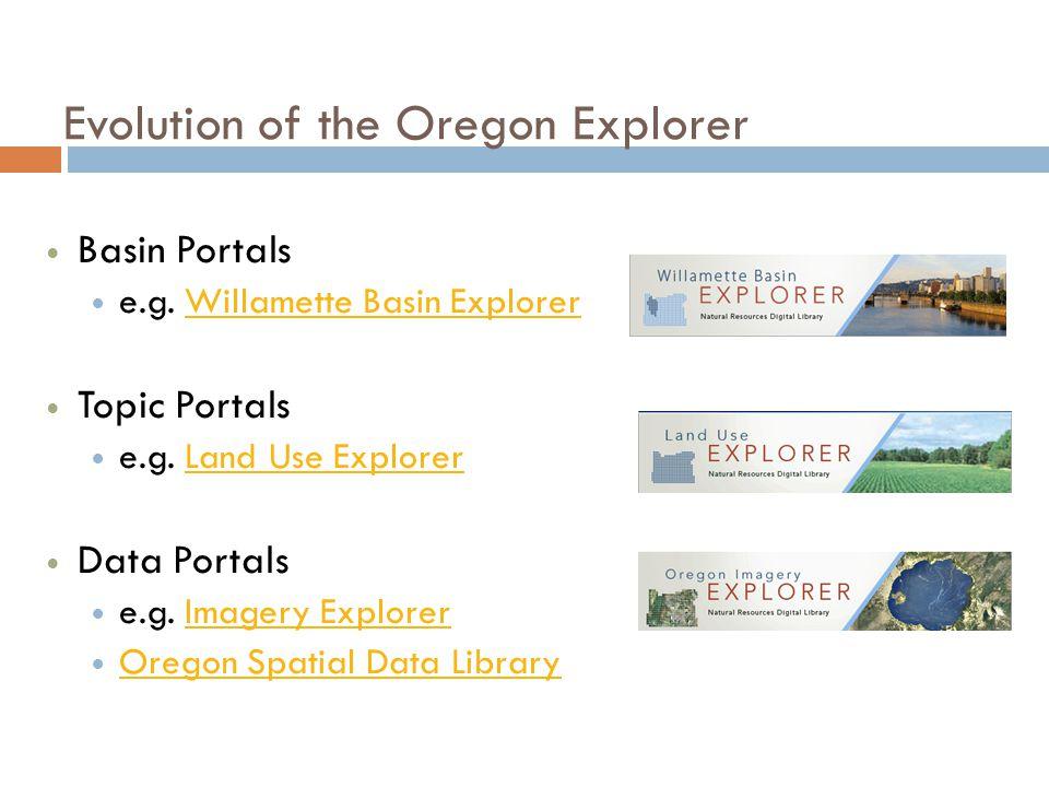 Evolution of the Oregon Explorer Basin Portals e.g. Willamette Basin ExplorerWillamette Basin Explorer Topic Portals e.g. Land Use ExplorerLand Use Ex