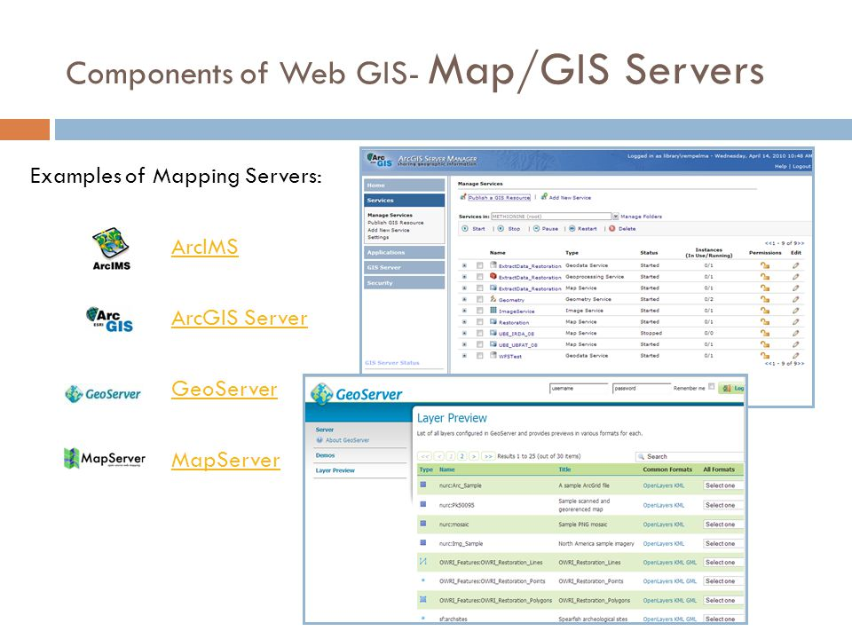 Components of Web GIS- Map/GIS Servers ArcIMS ArcGIS Server GeoServer MapServer Examples of Mapping Servers: