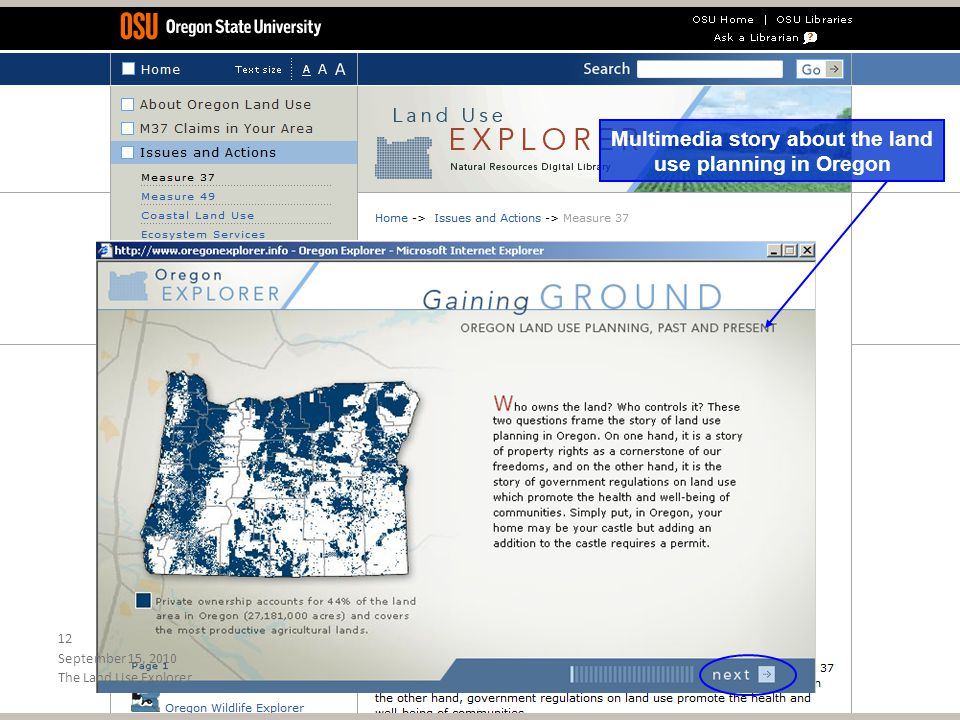 Multimedia story about the land use planning in Oregon September 15, 2010 12 The Land Use Explorer