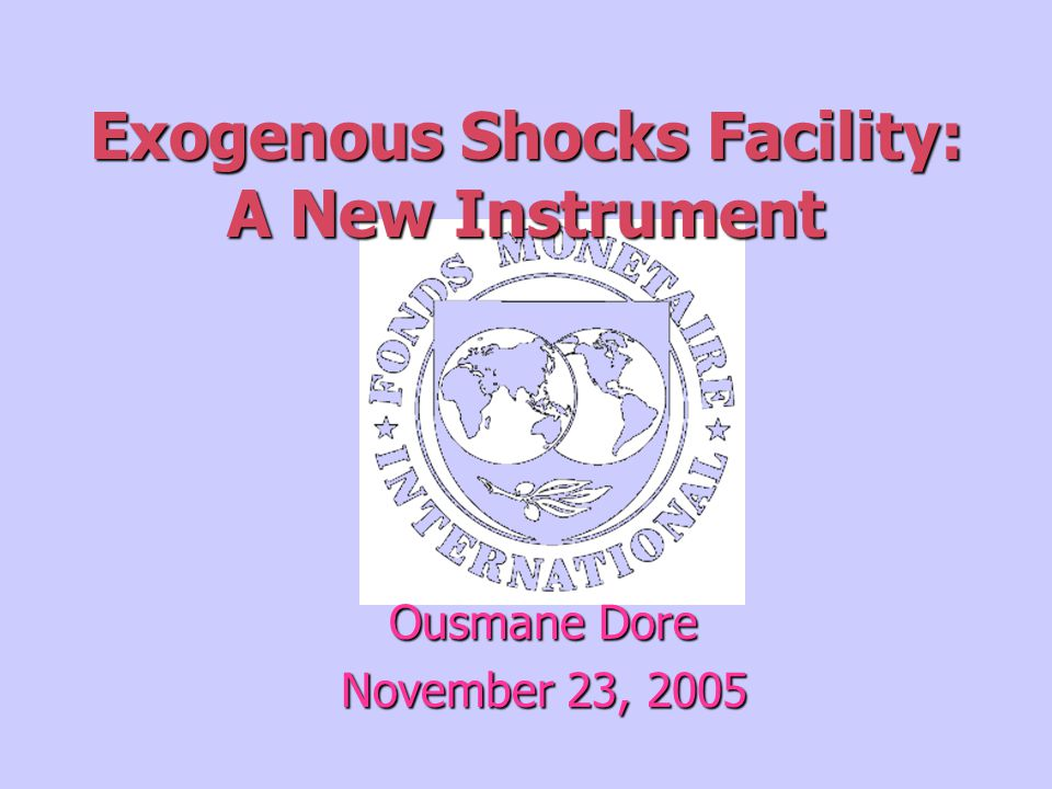 Exogenous Shocks Facility: A New Instrument Ousmane Dore November 23, 2005
