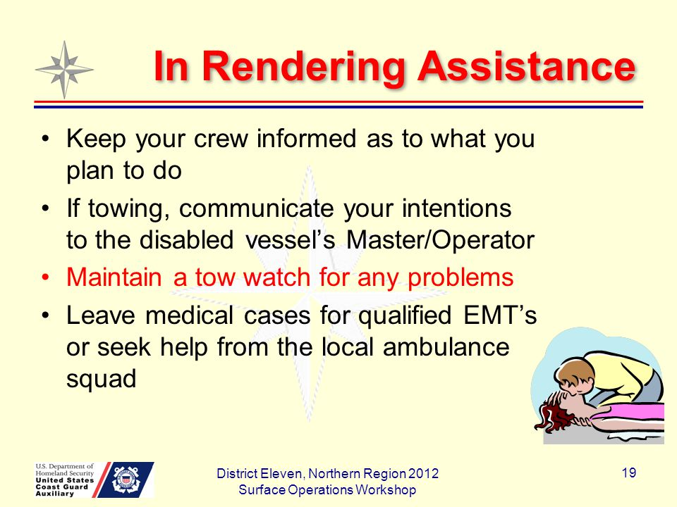 In Rendering Assistance Keep your crew informed as to what you plan to do If towing, communicate your intentions to the disabled vessel's Master/Operator Maintain a tow watch for any problems Leave medical cases for qualified EMT's or seek help from the local ambulance squad District Eleven, Northern Region 2012 Surface Operations Workshop 19