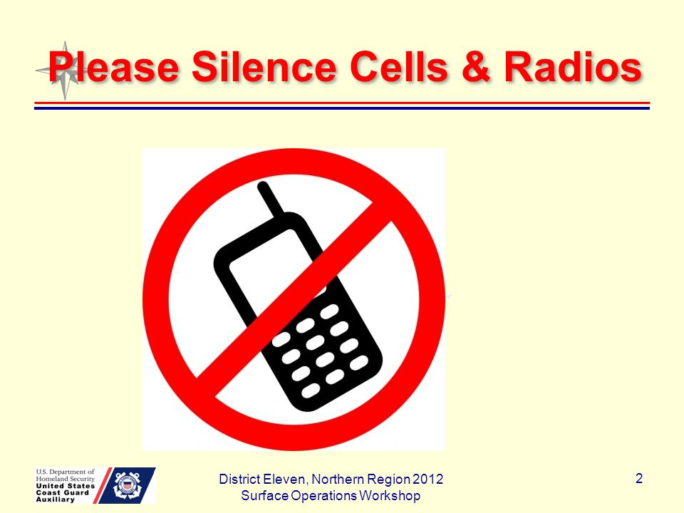 Please Silence Cells & Radios District Eleven, Northern Region 2012 Surface Operations Workshop 2