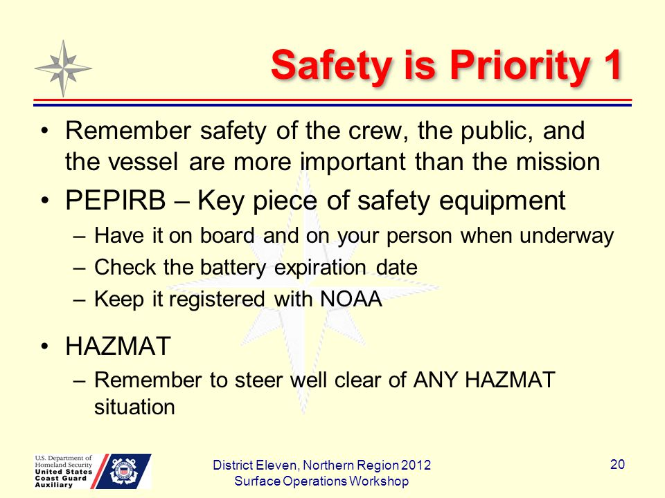Safety is Priority 1 Remember safety of the crew, the public, and the vessel are more important than the mission PEPIRB – Key piece of safety equipment –Have it on board and on your person when underway –Check the battery expiration date –Keep it registered with NOAA HAZMAT –Remember to steer well clear of ANY HAZMAT situation District Eleven, Northern Region 2012 Surface Operations Workshop 20