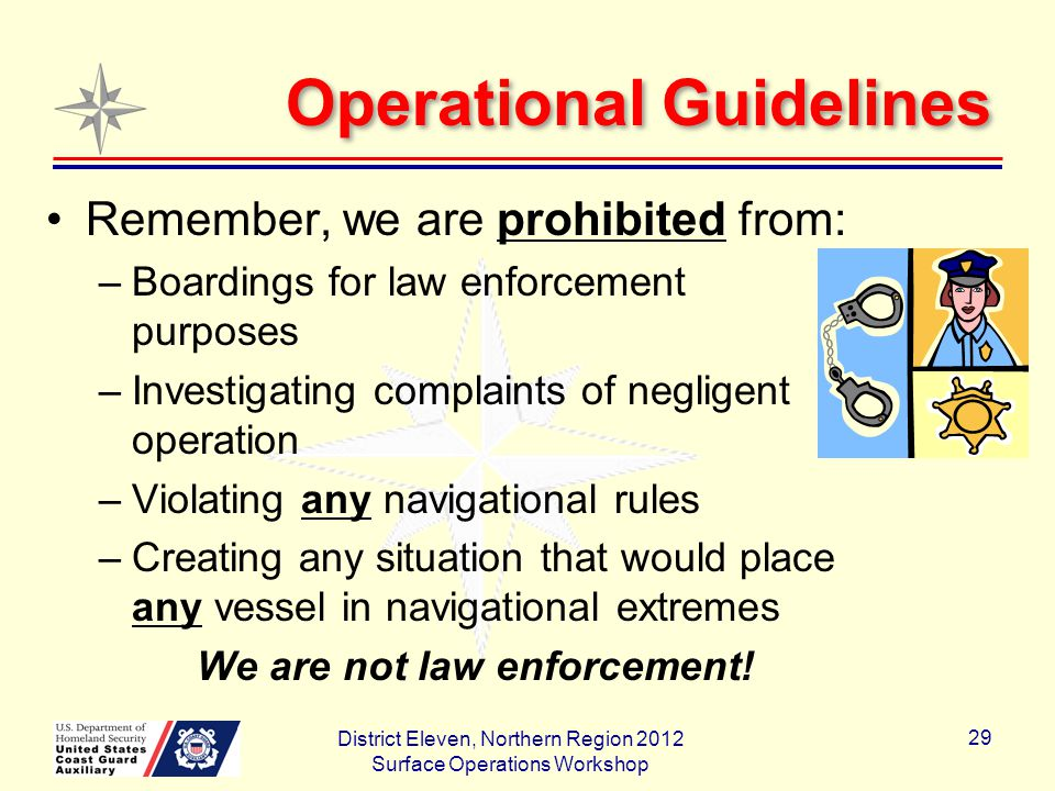 Operational Guidelines Remember, we are prohibited from: –Boardings for law enforcement purposes –Investigating complaints of negligent operation –Violating any navigational rules –Creating any situation that would place any vessel in navigational extremes We are not law enforcement.