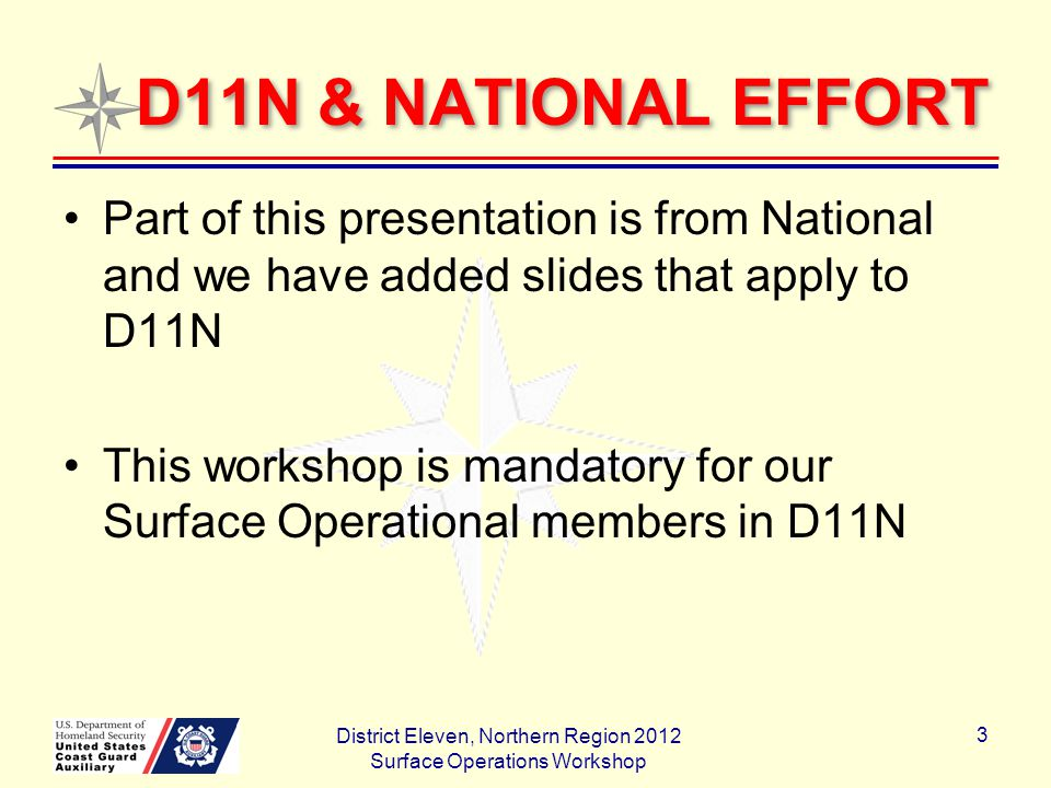 D11N & NATIONAL EFFORT Part of this presentation is from National and we have added slides that apply to D11N This workshop is mandatory for our Surface Operational members in D11N District Eleven, Northern Region 2012 Surface Operations Workshop 3