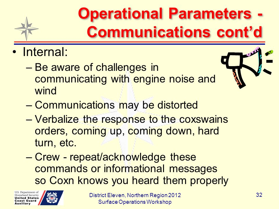 Operational Parameters - Communications cont'd Internal: –Be aware of challenges in communicating with engine noise and wind –Communications may be distorted –Verbalize the response to the coxswains orders, coming up, coming down, hard turn, etc.
