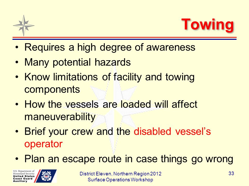 Towing Requires a high degree of awareness Many potential hazards Know limitations of facility and towing components How the vessels are loaded will affect maneuverability Brief your crew and the disabled vessel's operator Plan an escape route in case things go wrong District Eleven, Northern Region 2012 Surface Operations Workshop 33