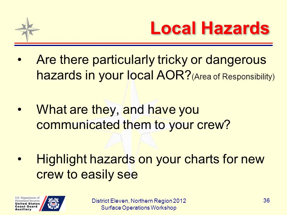 Local Hazards Are there particularly tricky or dangerous hazards in your local AOR.