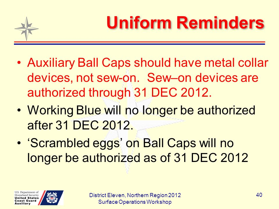 Uniform Reminders Auxiliary Ball Caps should have metal collar devices, not sew-on.