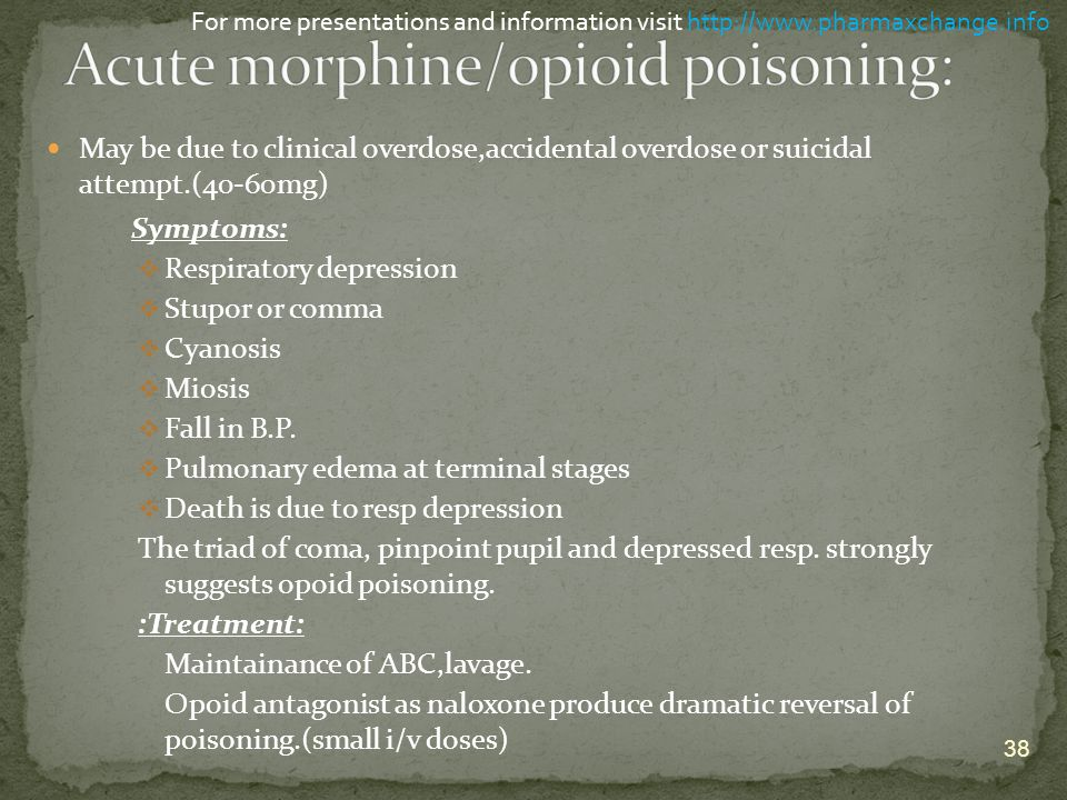 May be due to clinical overdose,accidental overdose or suicidal attempt.(40-60mg) Symptoms:  Respiratory depression  Stupor or comma  Cyanosis  Mi
