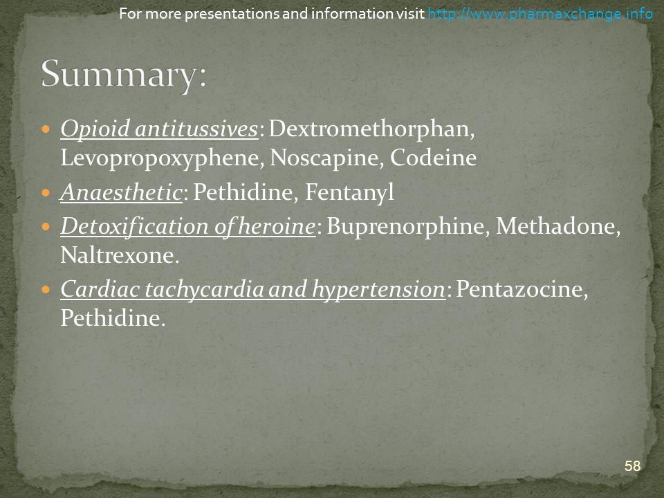 Opioid antitussives: Dextromethorphan, Levopropoxyphene, Noscapine, Codeine Anaesthetic: Pethidine, Fentanyl Detoxification of heroine: Buprenorphine,