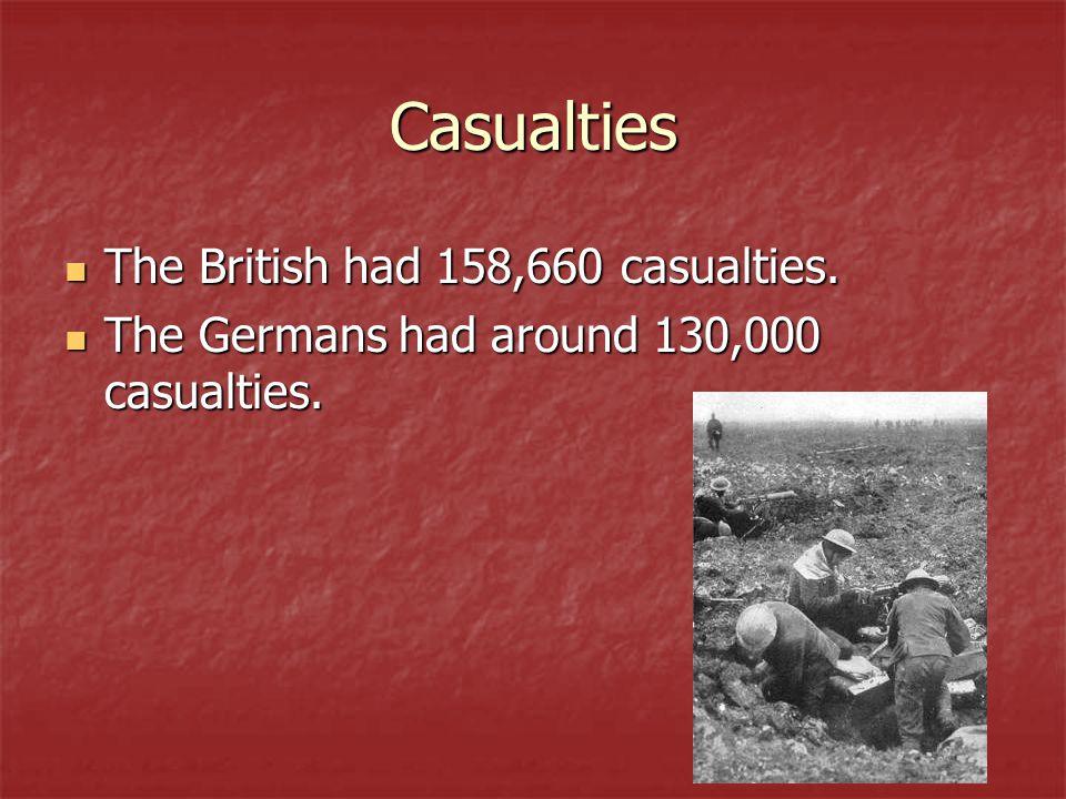 Casualties The British had 158,660 casualties. The British had 158,660 casualties.