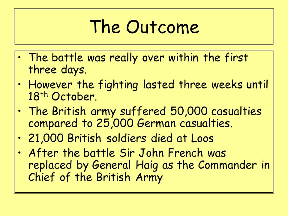 The Outcome The battle was really over within the first three days. However the fighting lasted three weeks until 18 th October. The British army suff