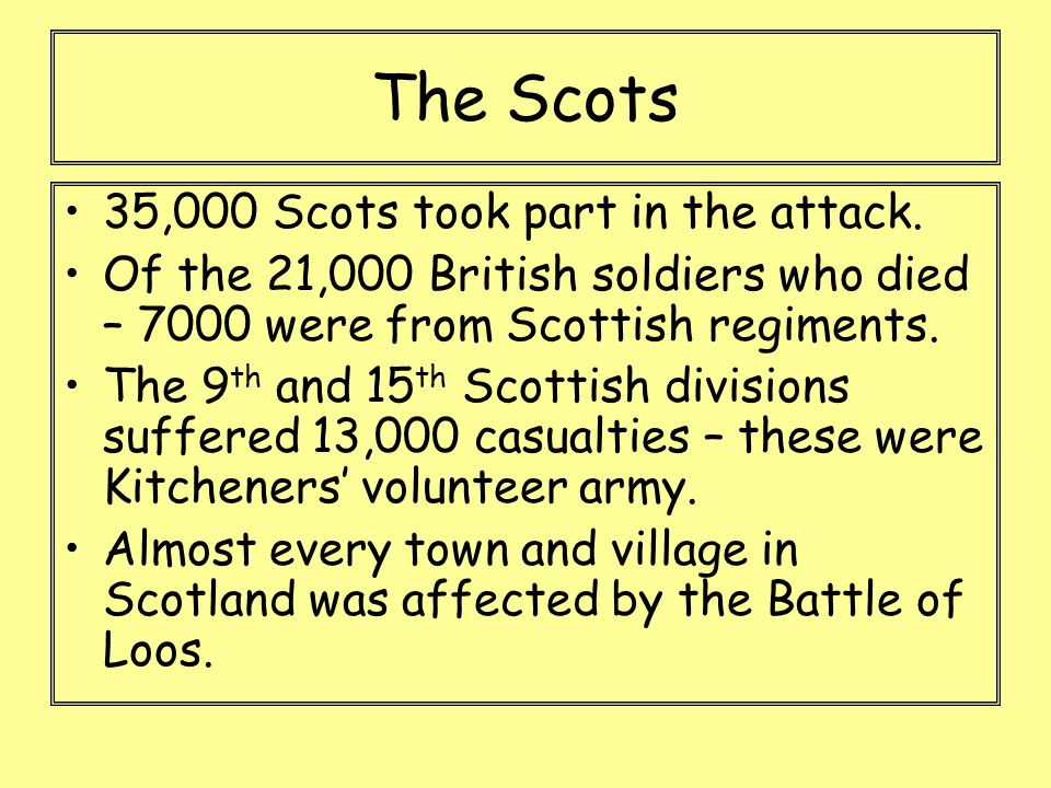 The Scots 35,000 Scots took part in the attack.