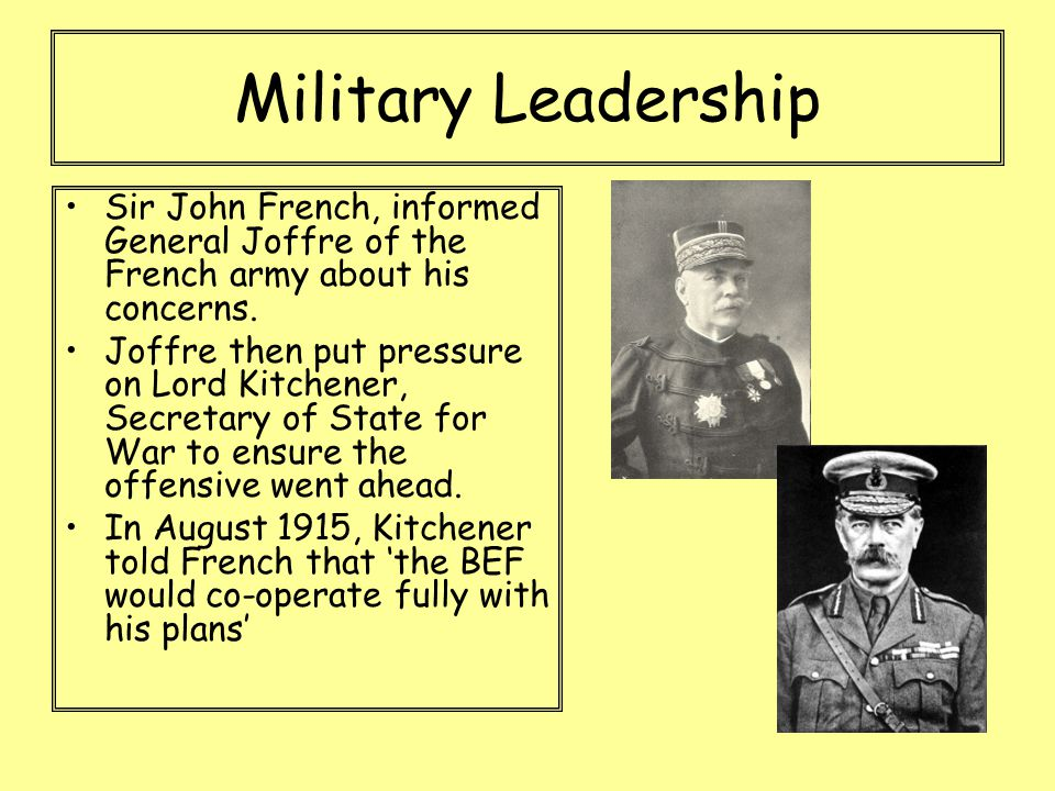 Military Leadership Sir John French, informed General Joffre of the French army about his concerns. Joffre then put pressure on Lord Kitchener, Secret