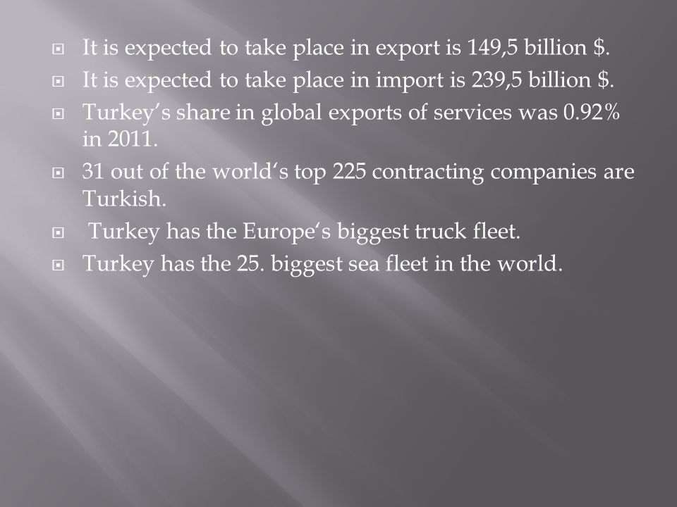  It is expected to take place in export is 149,5 billion $.