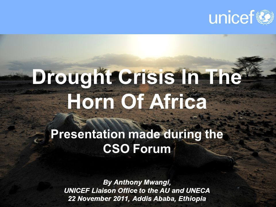 Drought Crisis In The Horn Of Africa Presentation made during the CSO Forum By Anthony Mwangi, UNICEF Liaison Office to the AU and UNECA 22 November 2011, Addis Ababa, Ethiopia