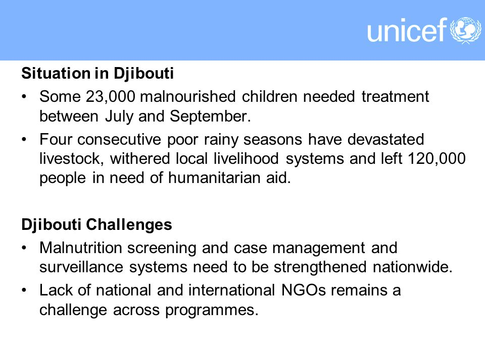 Situation in Djibouti Some 23,000 malnourished children needed treatment between July and September.