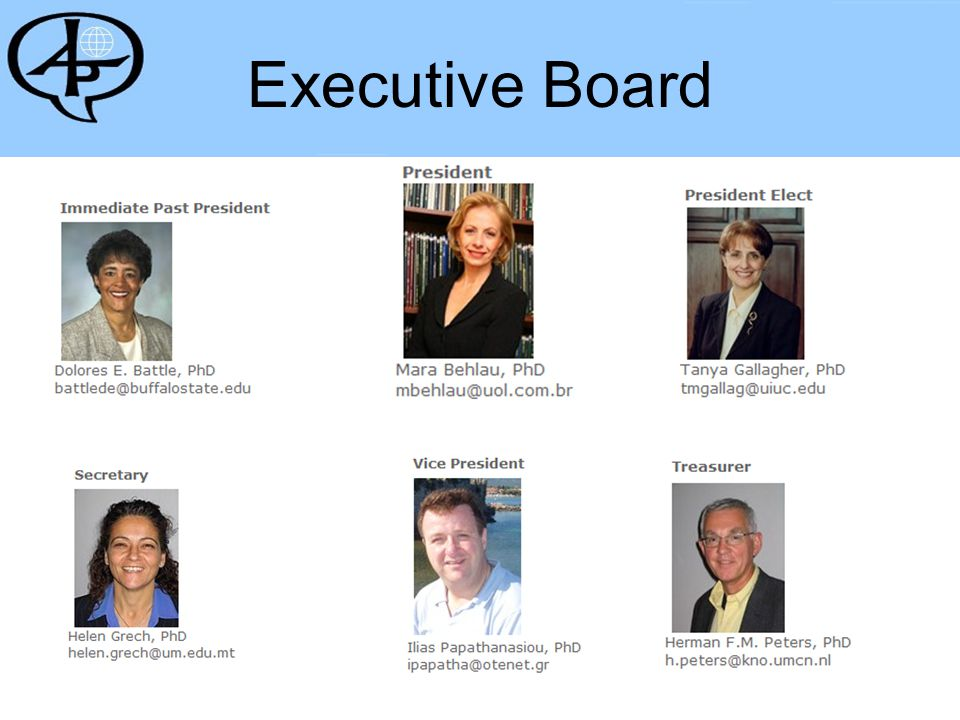 Board at Large Old Board 2004-2007 – New Board 2007-2010 New Board 2007-2010 New Board: Australia Brazil Belgium Finland Germany Greece Italy Japan Malta Sweden South Africa Taiwan United States