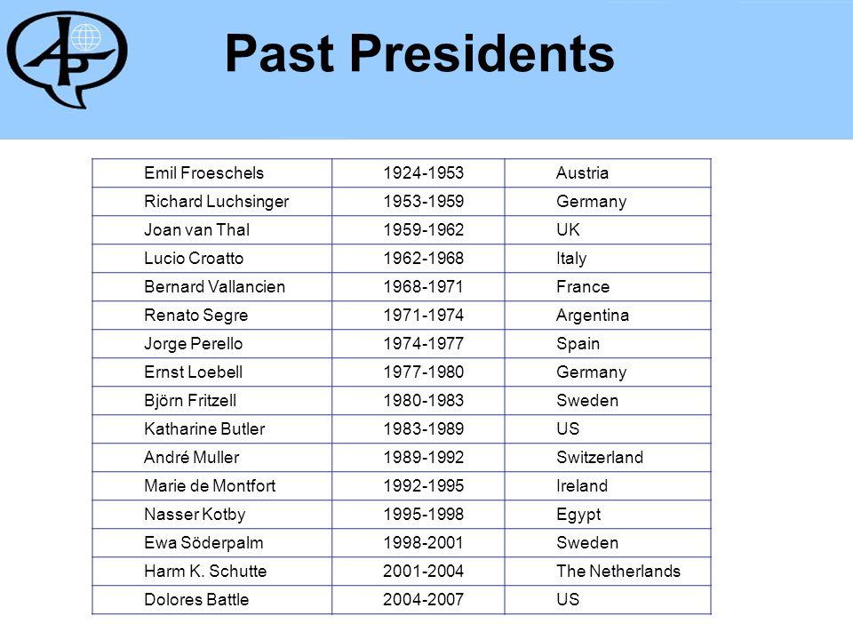 Past Presidents Emil Froeschels1924-1953Austria Richard Luchsinger 1953-1959Germany Joan van Thal 1959-1962UK Lucio Croatto 1962-1968Italy Bernard Val