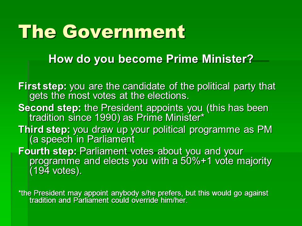 The Government How do you become Prime Minister.