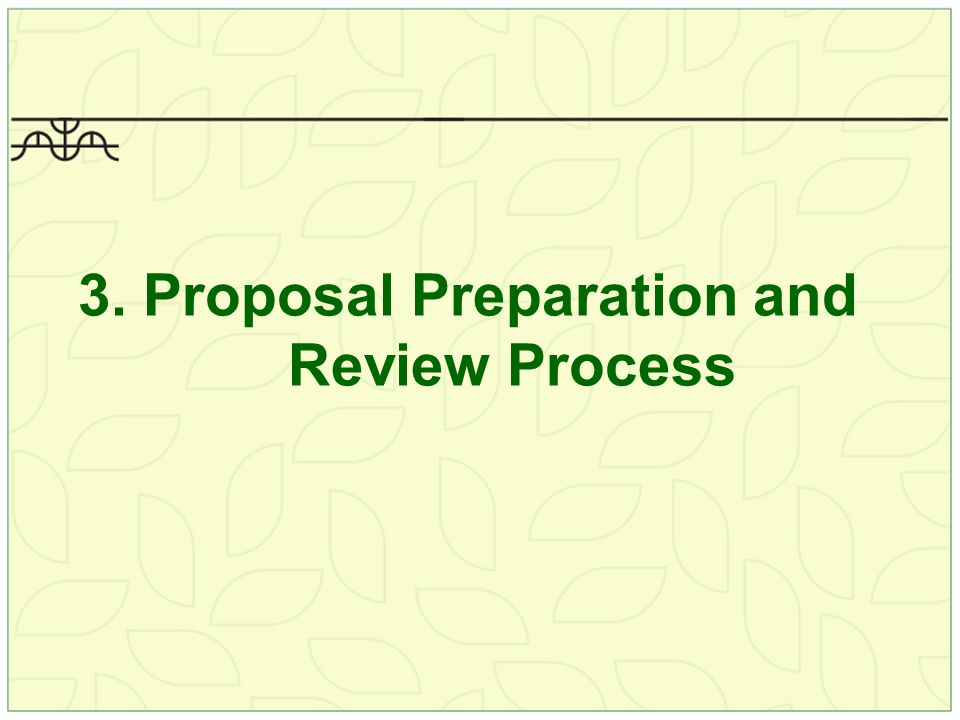 3. Proposal Preparation and Review Process