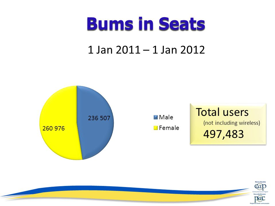 1 Jan 2011 – 1 Jan 2012 Total users (not including wireless) 497,483 Bums in Seats