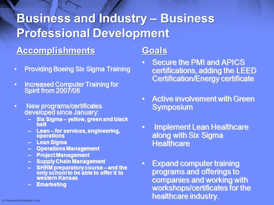 Business and Industry – Business Professional Development Accomplishments Providing Boeing Six Sigma TrainingProviding Boeing Six Sigma Training Incre