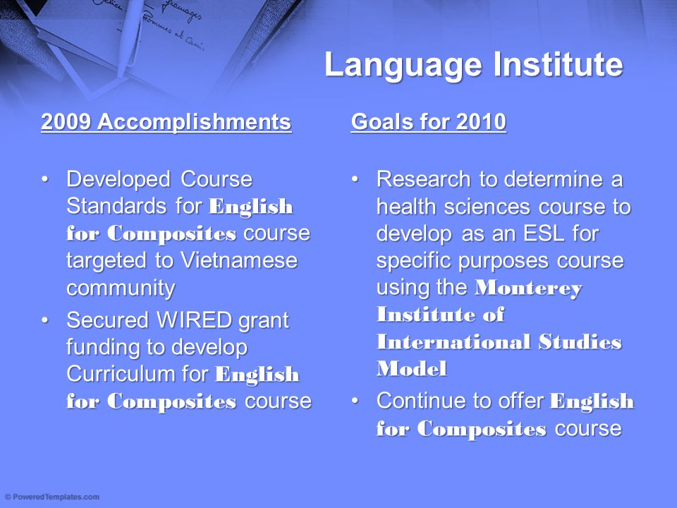 Language Institute 2009 Accomplishments Developed Course Standards for English for Composites course targeted to Vietnamese communityDeveloped Course