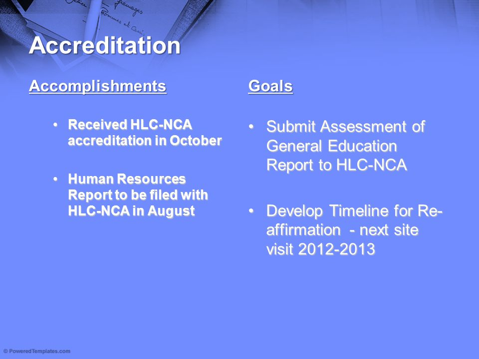 Accreditation Accomplishments Received HLC-NCA accreditation in OctoberReceived HLC-NCA accreditation in October Human Resources Report to be filed wi