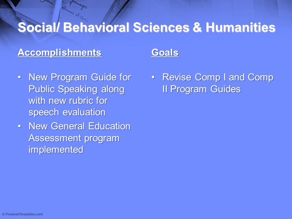 Social/ Behavioral Sciences & Humanities Accomplishments New Program Guide for Public Speaking along with new rubric for speech evaluationNew Program