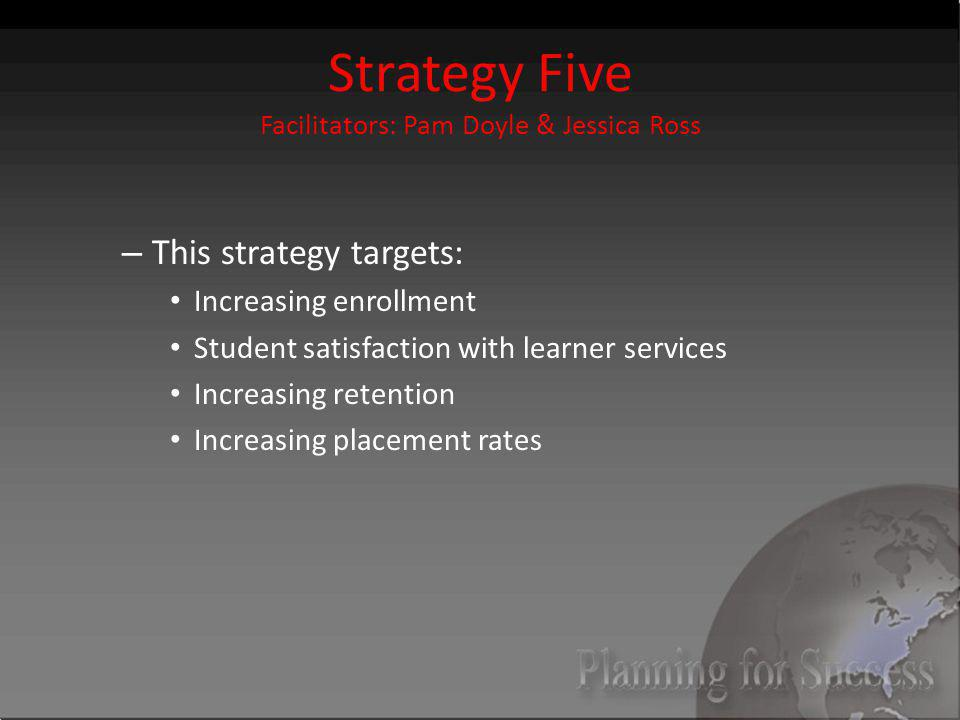 Strategy Five Facilitators: Pam Doyle & Jessica Ross – This strategy targets: Increasing enrollment Student satisfaction with learner services Increasing retention Increasing placement rates