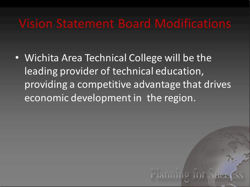 Vision Statement Board Modifications Wichita Area Technical College will be the leading provider of technical education, providing a competitive advantage that drives economic development in the region.
