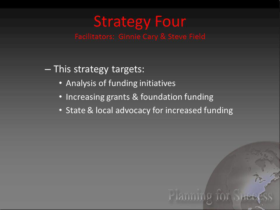 Strategy Four Facilitators: Ginnie Cary & Steve Field – This strategy targets: Analysis of funding initiatives Increasing grants & foundation funding State & local advocacy for increased funding