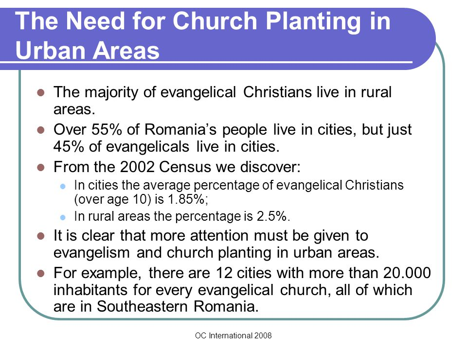OC International 2008 The Need for Church Planting in Urban Areas The majority of evangelical Christians live in rural areas.